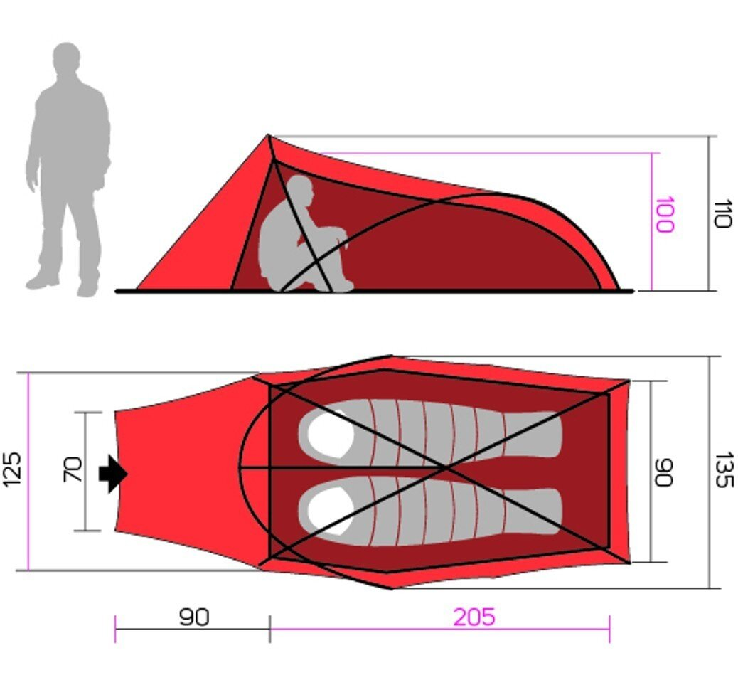 a stable, ultralight tent perfect for hiking or cycling  the tent is  designed for two people
